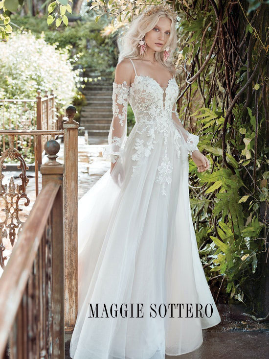 Romantic wedding dress with cold-shoulder long sleeves