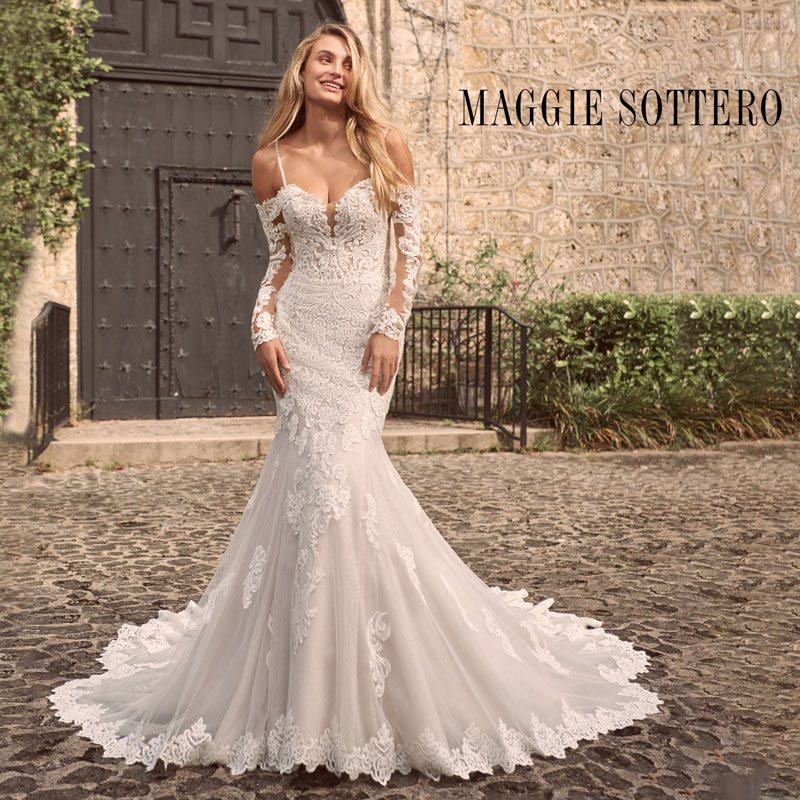 Off-the-shoulder fit and flare wedding dress with sleeves by Maggie Sottero
