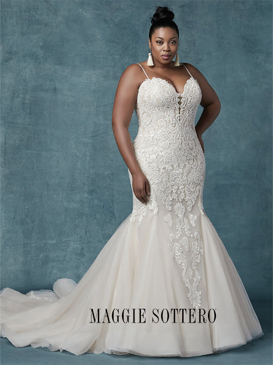 Plus-size sleeveless lace fit and flare wedding dress