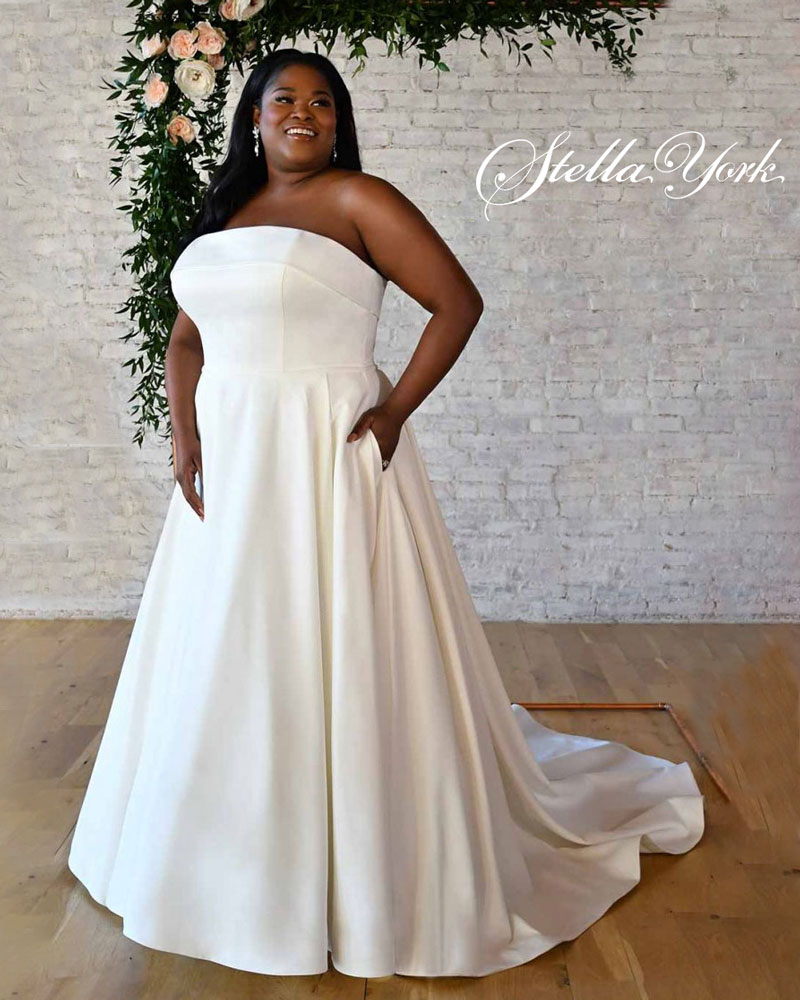 Plus-Size strapless A-line Bridal Gown
