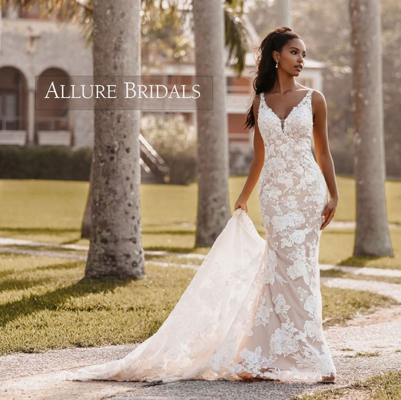 Beautiful sleeveless fit and flare wedding dress from Allure Bridals